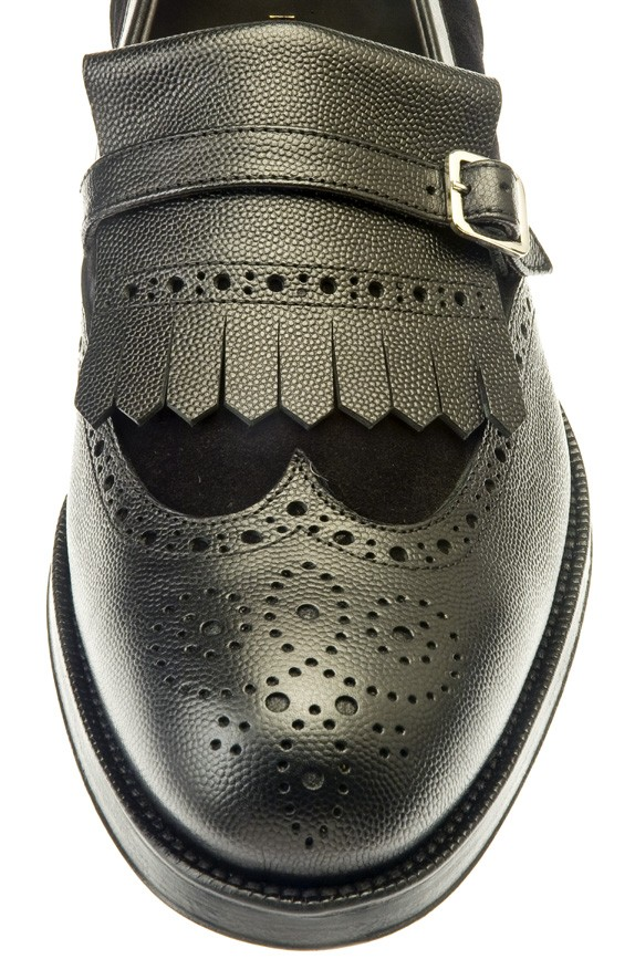 aa4b55e2a1f0 Folco - Black grained leather - Monks - Man