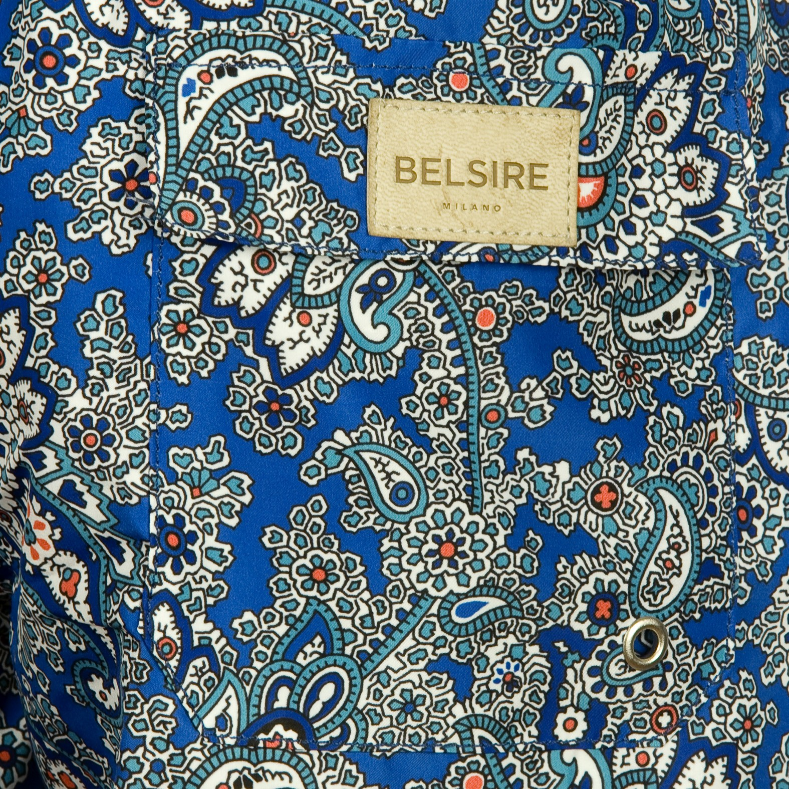 Dark Blue and Green Paisley Fast-Dry Polyester Swimming Shorts BELSIRE MILANO Cheap The Cheapest t99Lqp6L